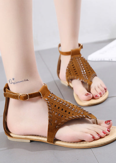 Flat-bottom Hollow Weave Open-toed Sandals