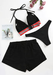 Stripe Halter 3-pieces Bikini Set
