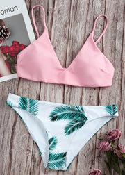 Random Leaf Print Mix and Match Bikini Set