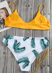 Leaf Printing Mid-high Waist Plus Bikini Set