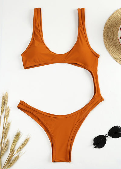 Monochrome Show-off Round Collar One-piece Swimsuit