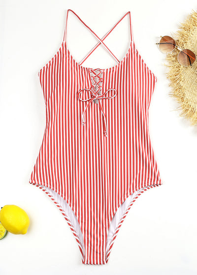 Striped printing Criss Cross One-piece Swimsuit
