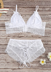 White Hollow High-waist Lingerie Set