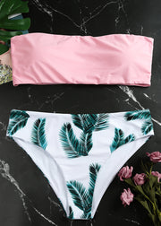 Leaf Printing Mid-high Waist Straless Bikini Set