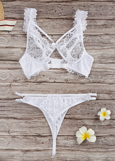 Lace Stitching Flowers Lingerie Set