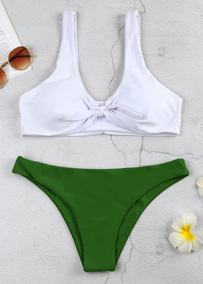Knotted Solid Color Bikini Set