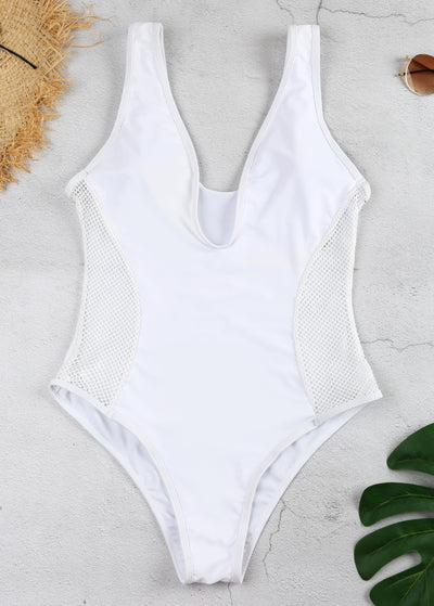 Splice Mesh Hollow Out One-piece Swimsuit