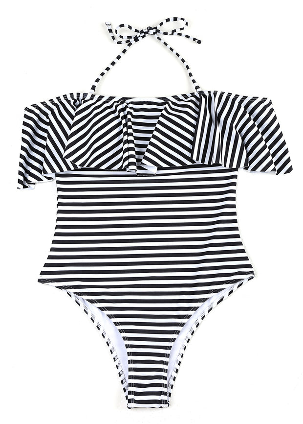 Stripe Printing Lotus Leaf Edge Off-shoulder One-piece Swimsuit