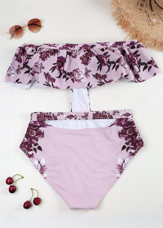 Flower Printing Strapless Lotus Leaf Edge Show Off  One-piece Swimsuit