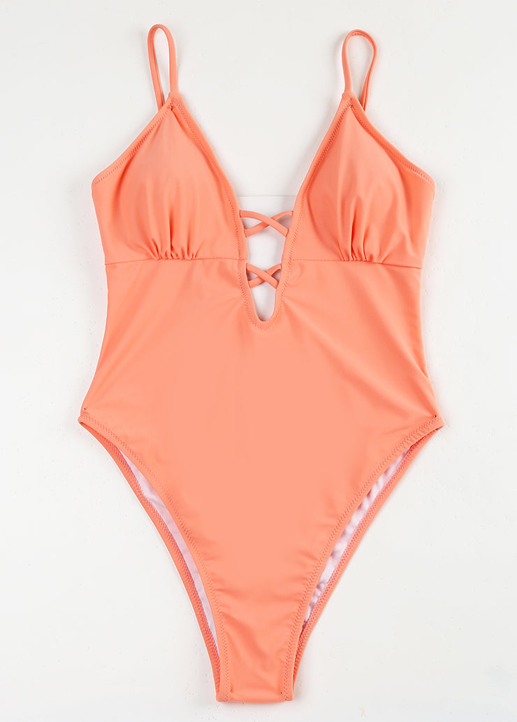 Monochromatic Crisscross Hollowing One-piece Swimsuit