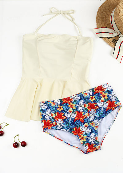 Flower Printing Colour-block Halter Tankini Set