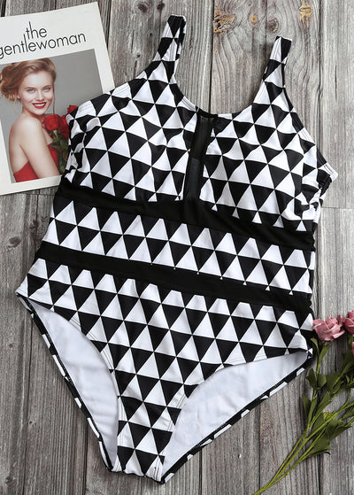 Rhombic Print Splicing Screen Yarn Plus One-piece Swimsuit