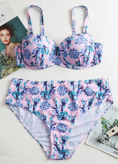 Floral Printed High-waist Plus Bikini Set