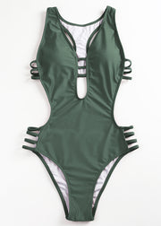 Pure Color Low-cut Ladder Hollowing-out One-piece Swimsuit