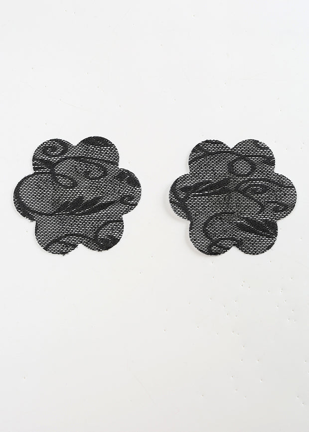 Invisible Disposable Chest Sticker-Black Lace Flower