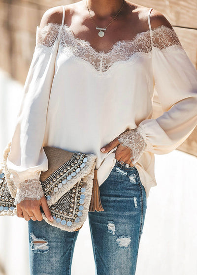 Stitching Lace Long-sleeves Chiffon Shirts