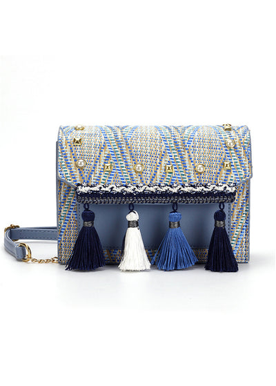 Fringed Straw Woven Inclined Shoulder Bag