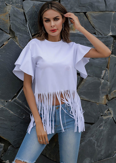 Pure-color Stitching Fringed Short-sleeves Tops
