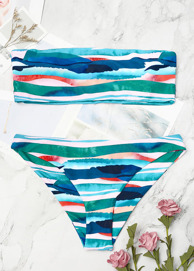Abstract Pattern Shoulder Strap Bikini Set