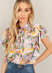 Tropical Printed With Lotus Edge Tops