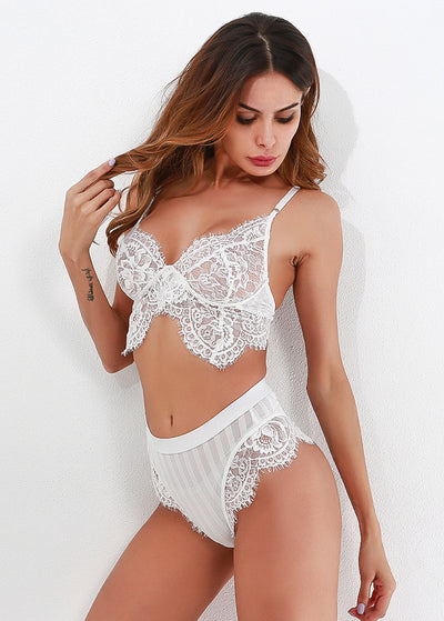 Knitting Stitching Lace High-waist Lingerie Set