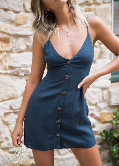 Suspender V-neck Back-tie Single-row Button Dress