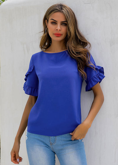 Pure-color Round-collar T-shirts