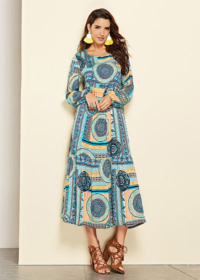 Bohemia Printed Long Sleeved Dress