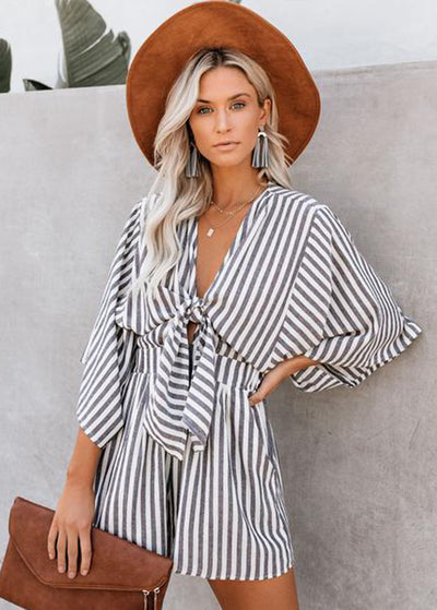 Stripe Printed With Front Bowknot Jumpsuits