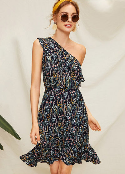 Floral Printed One-shoulder Ruffled Dress