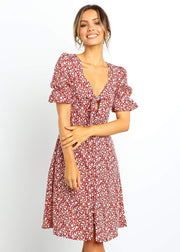 Floral Printed Front Knot Dress