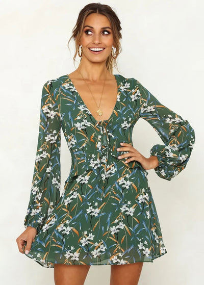 Flower-printed Long-sleeved Strap-on Dress