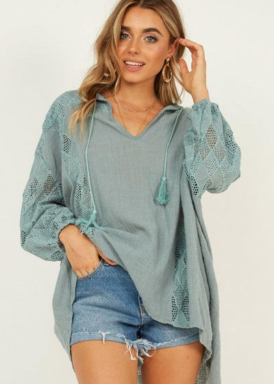 Pure-color Long-sleeved Irregular Blouses