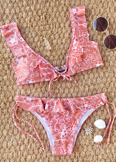 Ruffle Flower Printed Bikini Set
