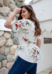 Flower Printed Waist Collection Front zipper Top