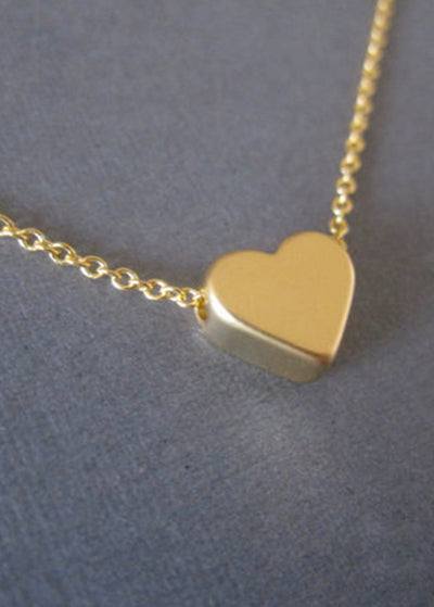 Simple Peach Heart Necklace