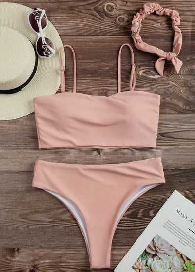 Simple High Cut Bandeau Bikini With Headband