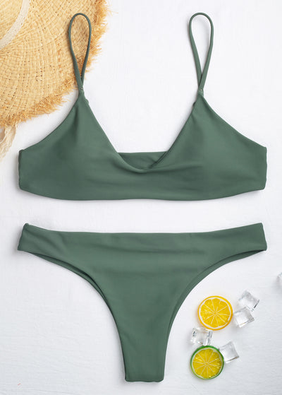 Solid Color Triangle Bikini Set