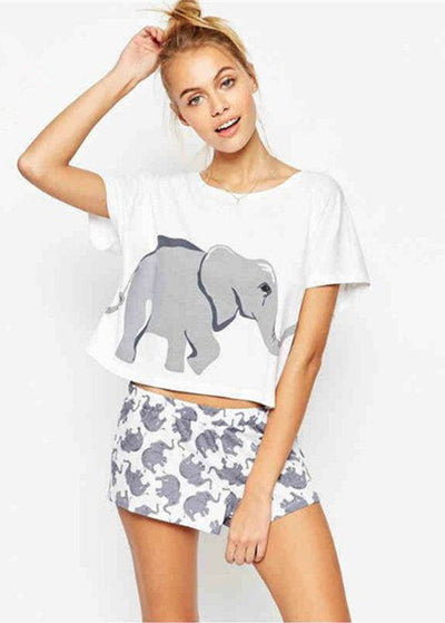 Cute Elephant Printed Short-sleeved T-shirt