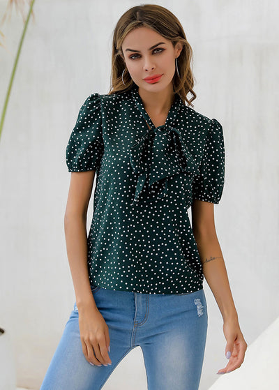 Dot Printed With Front-bowknot Tops