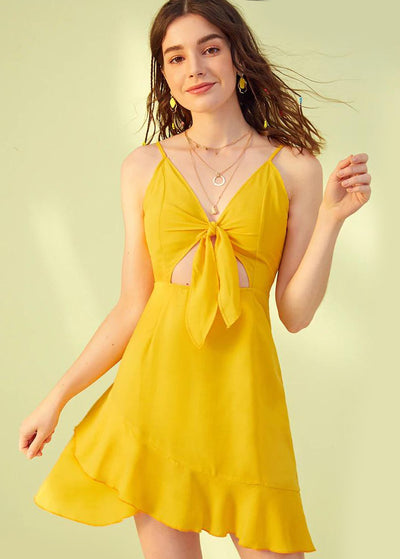 Knot Front Ruffled Dress