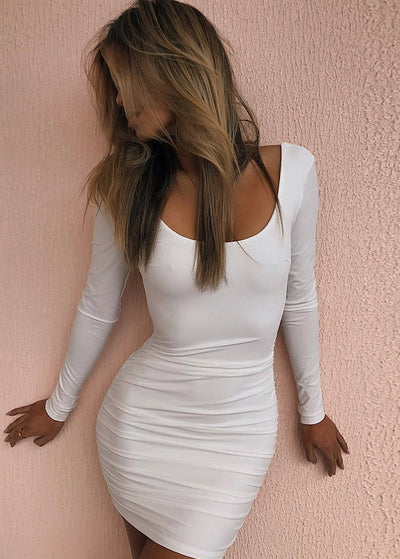 Solid Color Slim Backless Long Sleeve Club Dress
