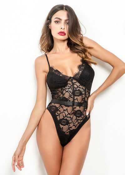 Perspective Lace Bodysuits-Black