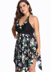 Flower Printing Irregular Pendulum V-neck Tankini Set