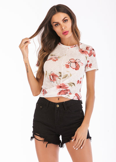 Flower Printed Front Kink Tops