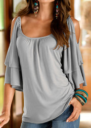 Ruffle Cold Shoulder  Short Sleeves T-shirts