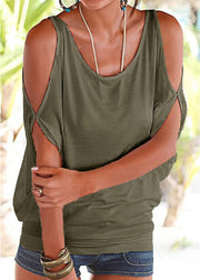 Scoop Neck Cold Shoulder Tie-up at Back Tee