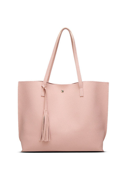Pure-color Tassel PU Handbag