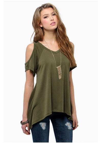 Irregular Bare Shoulders T-shirt
