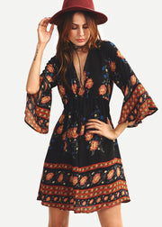 V-collar Bell Sleeve Vintage Printed Dress